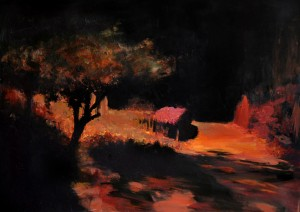 "Nacht, Acryl auf Papier, 27cm x 35cm<span class=""en""> | night, acryl on paper, 27cm x 35cm</span>"