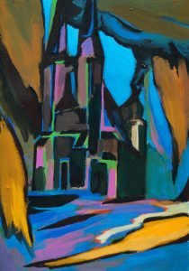 "Marktkirche, 2016, Acryl auf Papier, 30 cm x 40 cm<span class=""en""> | market church, 2016, acryl on paper, 30 cm x 40 cm </span>"