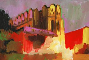 """Roter Dom, 2016, Acryl auf Papier, 40 cm x 30 cm<span class=""""en""""> 