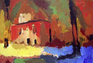 """Am heiligen See/Drittes Rot"" 2017 Acryl auf Papier 30 cm x 40 cm<span class=""en""> | ""by the holy lake/third red"" 2017 acryl on paper 30 cm x 40 cm</span>"