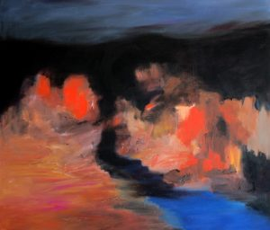 """Nachtstadt"" 2017 Öl auf Leinwand 100 cm x 115 cm<span class=""en""> | ""nightside"" 2017  oil on canvas 100cm x 115 cm</span>"