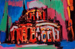 """Dresdener Hofkirche 2"" 2018 Acryl auf Papier 10 cm x 15 cm<span class=""en""> | ""Dresdener Hofkirche 2"" 2018 acryl on paper 10 cm x 15 cm</span>"