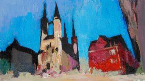 """Marktkirche in Halle 2"" 2018 Acryl auf Papier 6 cm x 10 cm<span class=""en""> | ""Church in Halle 2"" 2018 acryl on paper 6 cm x 10 cm</span>"