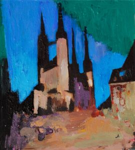 """Marktkirche in Halle 3"" 2018 Acryl auf Papier 7 cm x 6 cm<span class=""en""> | ""Church in Halle 3"" 2018 acryl on paper 7 cm x 6 cm</span>"