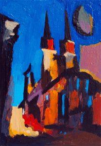 """Marktkirche in Halle 4"" 2018 Acryl auf Papier 10 cm x 6 cm<span class=""en""> | ""Church in Halle 4"" 2018 acryl on paper 10 cm x 6 cm</span>"
