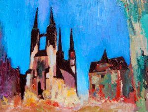 """Marktkirche in Halle 5"" 2018 Acryl auf Papier 7 cm x 12 cm<span class=""en""> | ""Church in Halle 5"" 2018 acryl on paper 7 cm x 12 cm</span>"