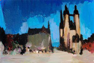 """Marktkirche in Halle 6"" 2018 Acryl auf Papier 8 cm x 13 cm<span class=""en""> | ""Church in Halle 6"" 2018 acryl on paper 8 cm x 13 cm</span>"