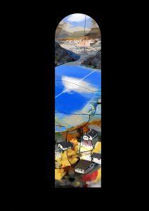 "Landschaft, Fenster im Kirchenschiff, 2018, 310 cm x 80 cm<span class=""en""> | Landscape, nave window, 2018, 310 cm x 80 cm</span>"