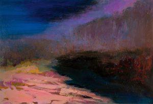 """Ufer"", 2019, Acryl auf Papier, 2019, 28,5 cm x 42 cm<span class=""en""> | ""Bank"", 2019, acryl on paper, 28,5 cm x 42 cm</span>"