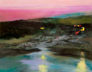 """Ufer"", 2020, Öl auf Acryl auf Papier, kaschiert, 72 cm x 92 cm<span class=""en""> | ""Bank"", 2020, oil on acryl on paper, coated, 72 cm x 92 cm</span>"