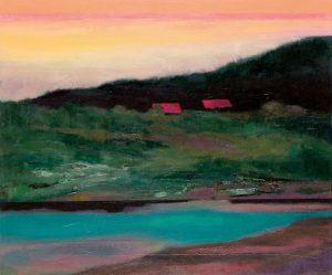 """Ufer"", 2020, Öl auf Acryl auf Papier, kaschiert, 30 cm x 60 cm<span class=""en""> | ""Bank"", 2020, oil on acryl on paper, coated, 30 cm x 60 cm</span>"