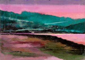 """Ufer"", 2020, Öl auf Acryl auf Papier, kaschiert, 32 cm x 45 cm<span class=""en""> | ""Bank"", 2020, oil on acryl on paper, coated, 32 cm x 45 cm</span>"
