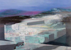 """Arche"", 2020, Öl auf Acryl auf Papier, kaschiert, 58,5 cm x 82,5 cm<span class=""en""> | ""Art"", 2020, oil on acryl on paper, coated, 58,5 cm x 82,5 cm</span>"